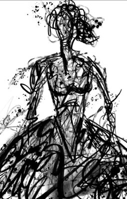 A0 Black and White Scribble Lady on paper