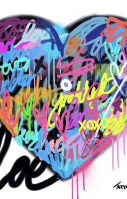 Graffiti heart on perspex 1m by 1m